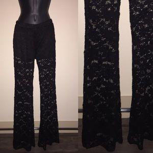 Sans Souci Black Lace Sheer Pants w Short Lining M